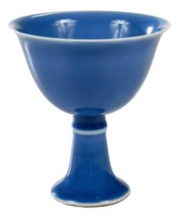 Chinese Clair de Lune Porcelain Stem Cup