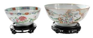 Two Chinese Export Enameled Punch Bowls