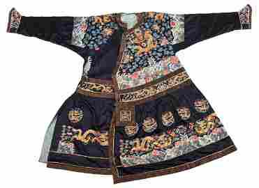 Chinese 'Dragon' Silk Court Robe, Forbidden Stitch