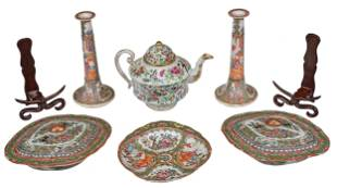 Six Rose Medallion Chinese Porcelain Table Objects