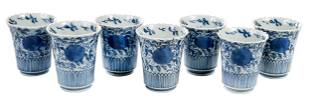 Seven Chinese Blue and White Porcelain Tea Cups