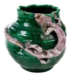 Asian Stoneware Vase with Dragon