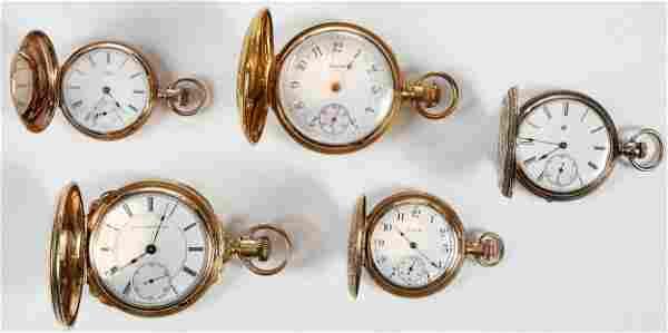 Five Elgin Watch Co. Pocket Watches
