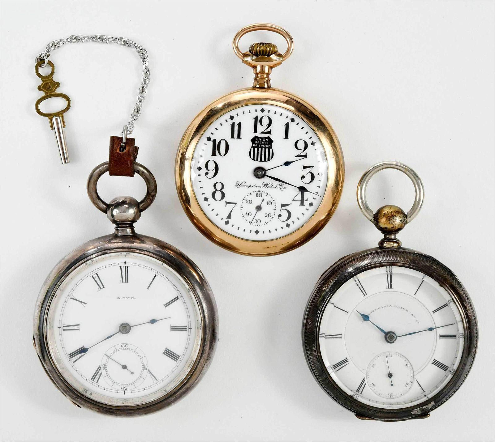 Three Railroad Pocket Watches