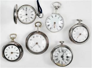 Six English Silver Pocket Watches