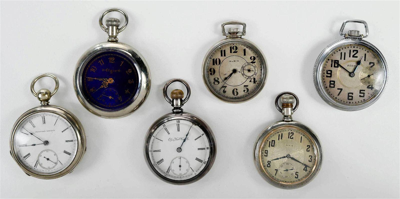 Six Elgin Pocket Watches