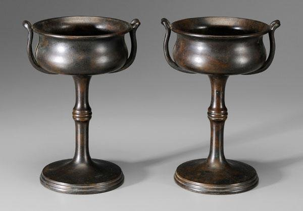 1: Pair bronze compotes: