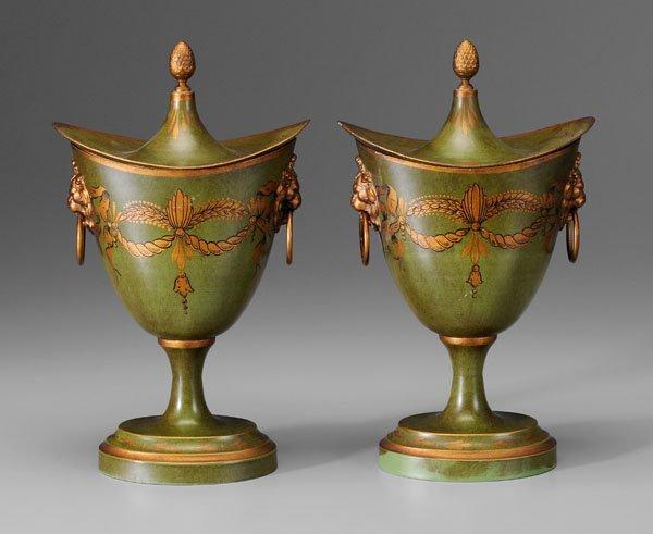 2: Pair toleware chestnut urns: