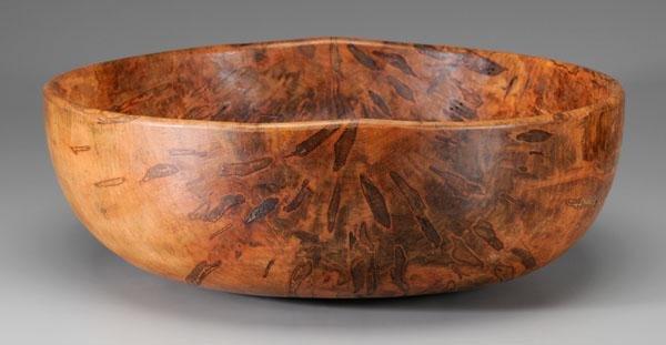 3: Large turned maple bowl,