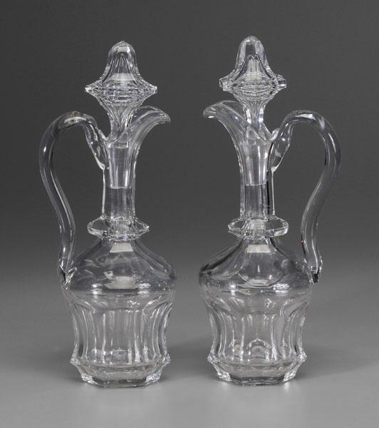 9: Pair glass ewers: