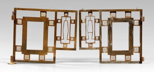 10: Pair Art Deco bronze interior gates:
