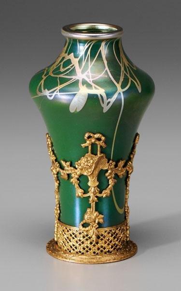 13: Rare Steuben Tyrian glass vase,