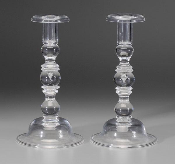 14: Pair Steuben baluster candlesticks: