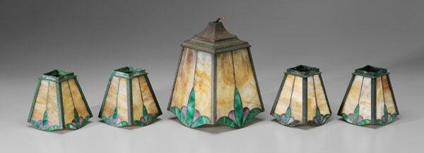 17: Five Arts and Crafts glass shades: