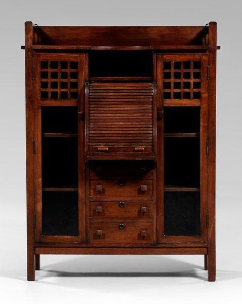 19: Arts and Crafts walnut desk/bookcase,