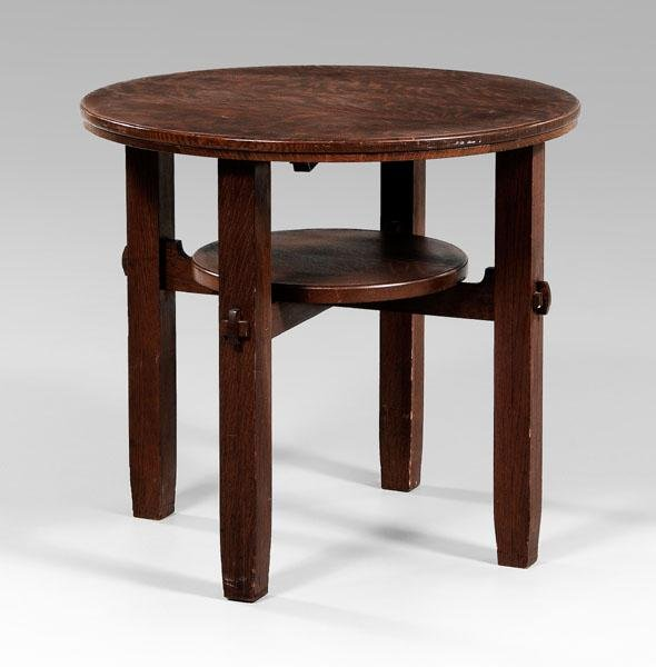 20: Arts and Crafts oak center table,