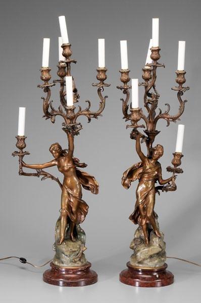 22: Pair Art Nouveau style candelabra::