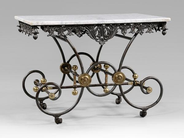 24: French iron pastry table, marble top:
