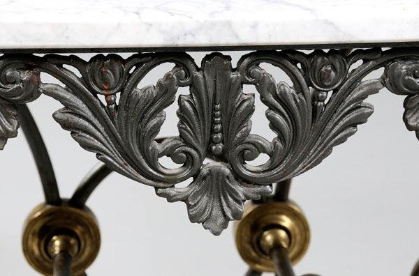 24: French iron pastry table, marble top: - 6