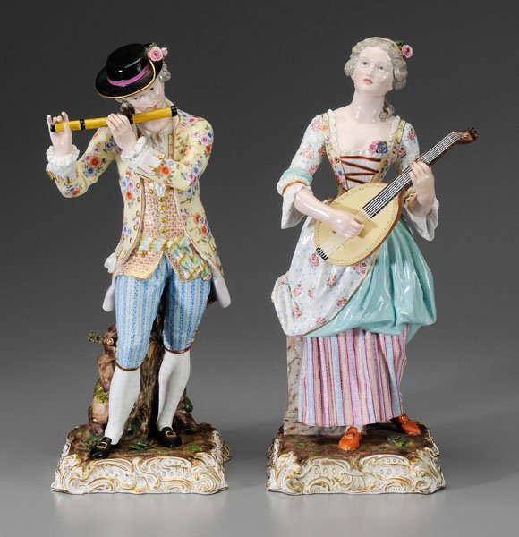 299: Pair Meissen porcelain figurines: