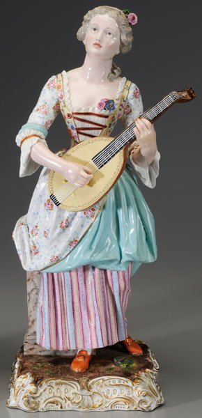 299: Pair Meissen porcelain figurines: - 9