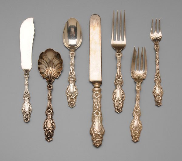 627: Whiting Lily sterling flatware,
