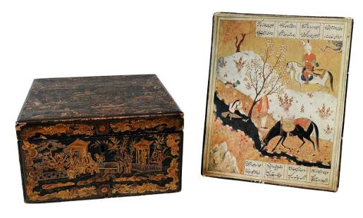 Chinese Export Chess Set in Gilt and Lacquered Case