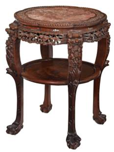 ?Chinese Carved Hardwood Marble Top Tabaret