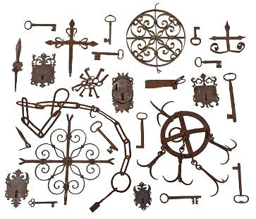 34 Pieces of British/Continental Wrought Iron