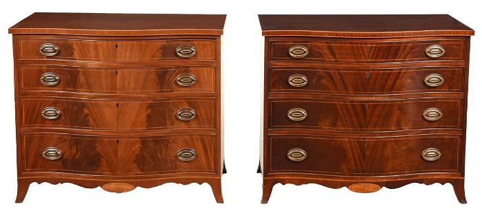 Pair Federal Style Inlaid Serpentine Chests