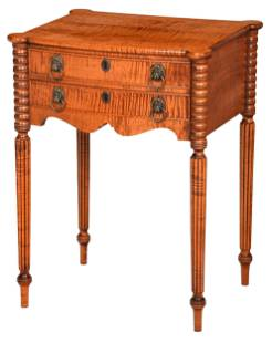 American Sheraton Style Tiger Maple Work Table