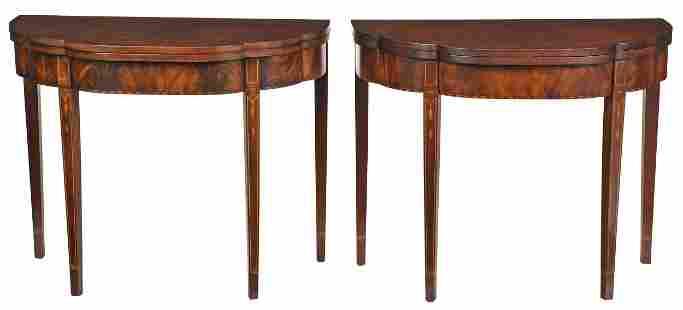 Pair Federal Style Bellflower Inlaid Card Tables
