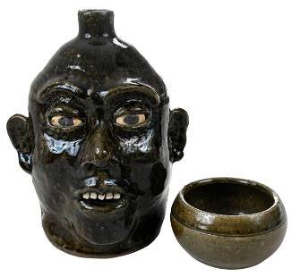 Lanier Meaders Face Jug, and Small Bowl