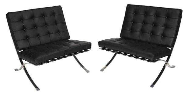 Pair Mies Van Der Rohe Designed Barcelona Chairs