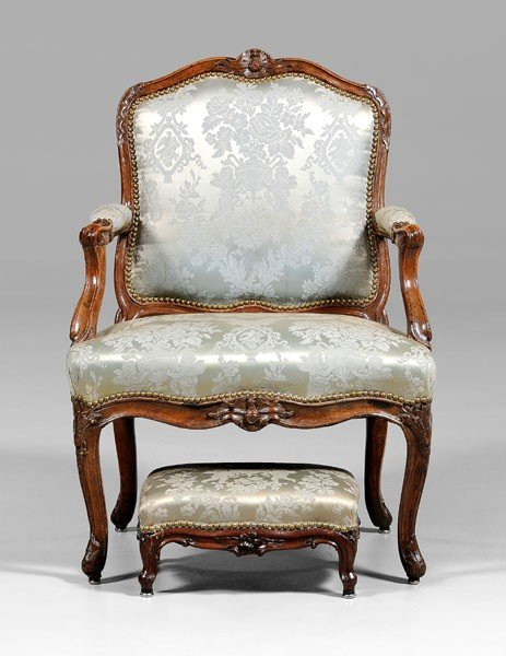 811: Provincial Louis XV Open-Arm Chair