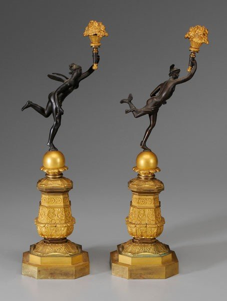 818: Pair Empire Bronze Doré Figures