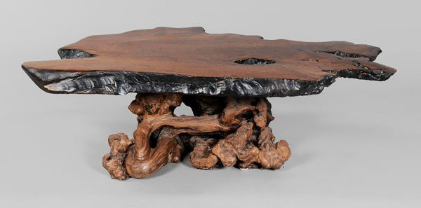 661: Redwood Slab-Form Coffee Table