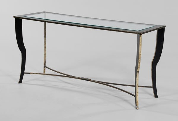 663: Patinated Brass and Glass Sofa Table