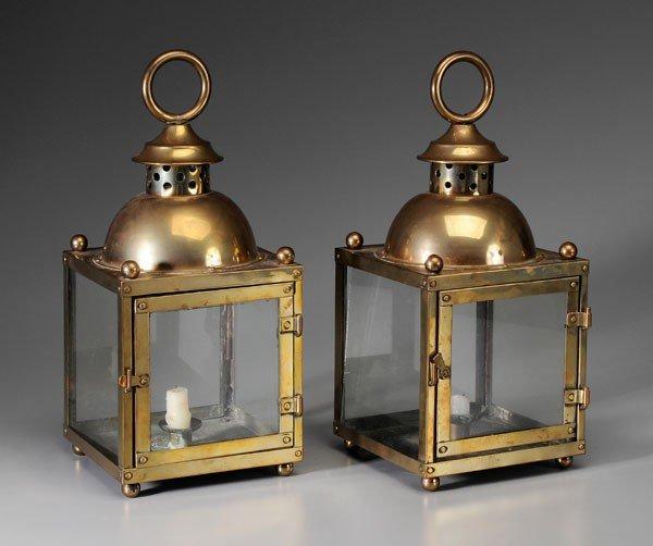 664: Pair Brass Lanterns