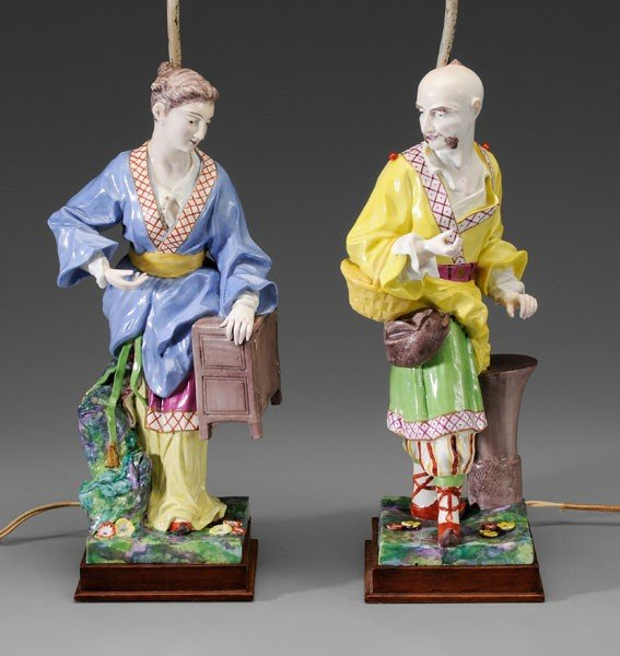 665: Pair Asian Style Ceramic Lamps