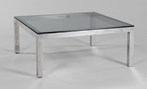 668: Modern Chrome and Glass Coffee Table
