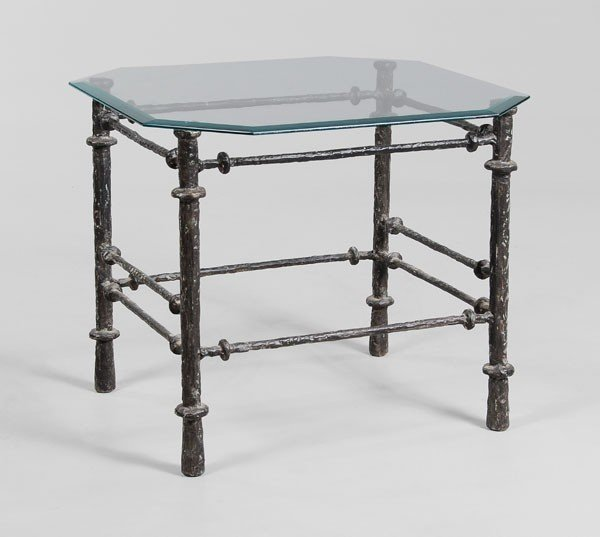 669: Patinated Metal Glass-Top Side Table