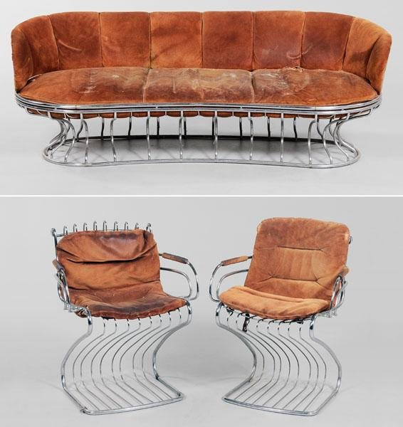 674: Mid-Century Modern Chrome and Suede