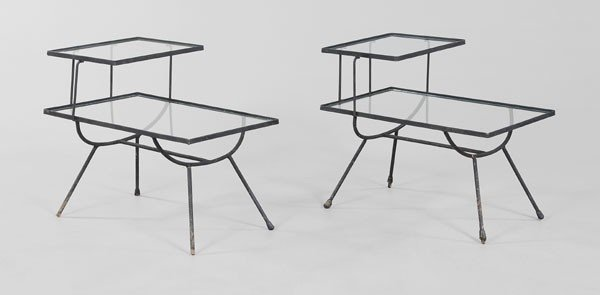 676: Pair Glass and Iron Side Tables