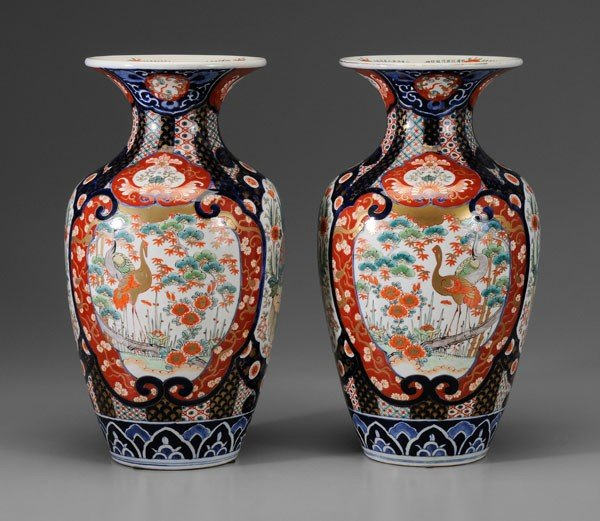 6: Pair Imari Porcelain Vases