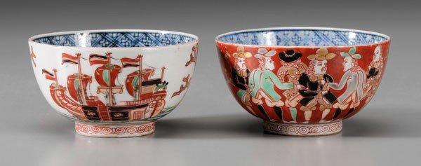 7: Pair Imari Black Ship Porcelain Bowls