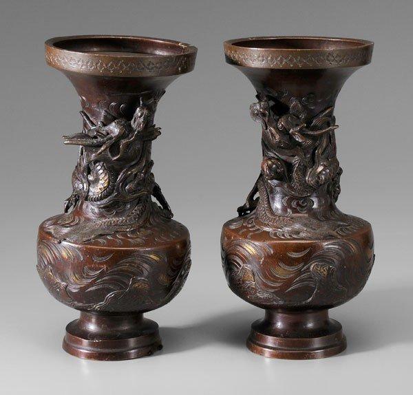 13: Pair Bronze [Hu-]Form Vases