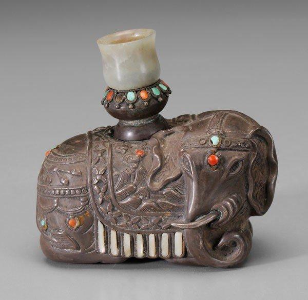 15: Embellished Silver Elephant Vessel