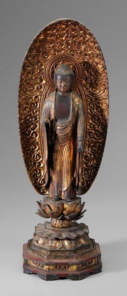 16: Carved Gilt Wood Buddha
