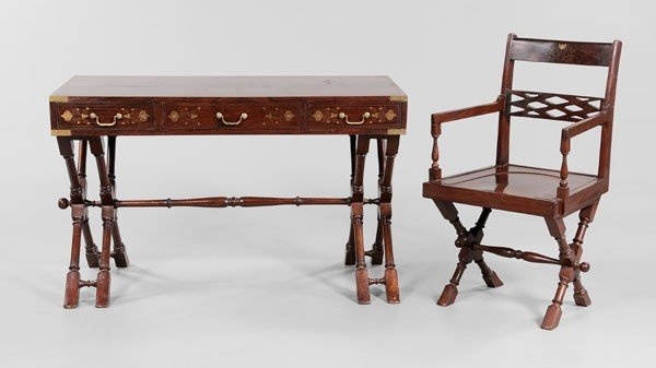 23: Campaign Style Brass-Inlaid Desk